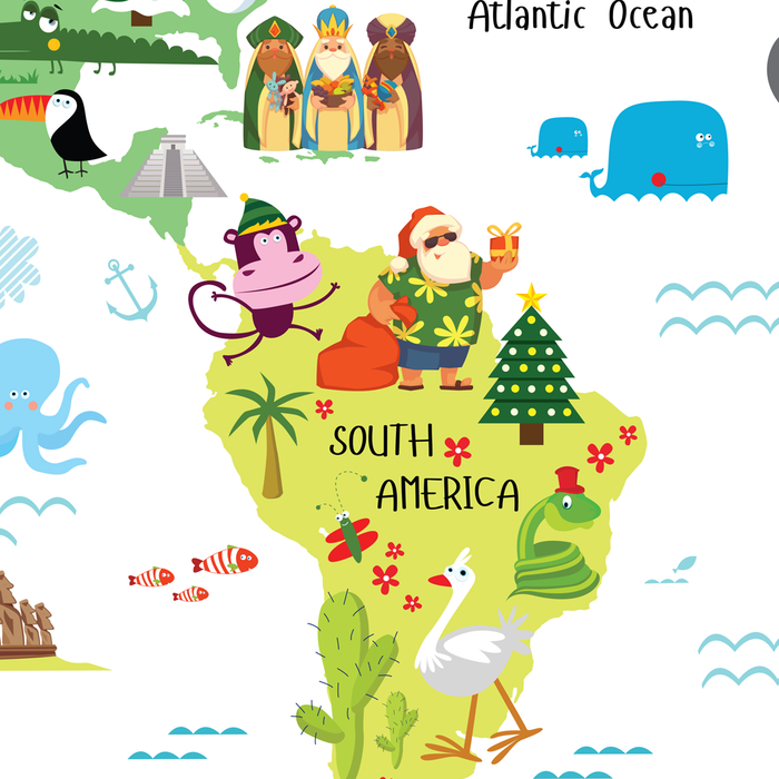 Papai Noel from Brazil, world map for kids, christmas around the world, santas around the world by Pictureta