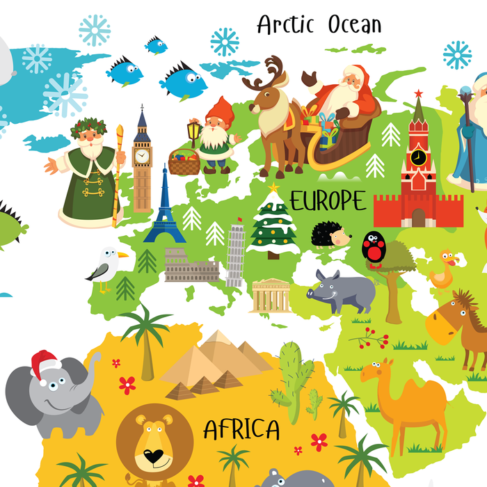 Father Christmas from England, Joulupukki from Finland, world map for kids, christmas around the world, santas around the world by Pictureta