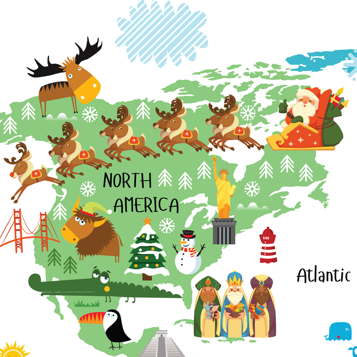 Santa Claus and reindeers, world map for kids, christmas around the world, santas around the world by Pictureta