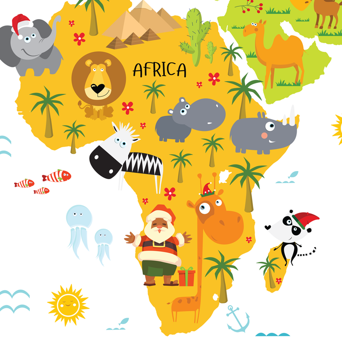 Krismis Vader from South Africa, world map for kids, christmas around the world, santas around the world by Pictureta