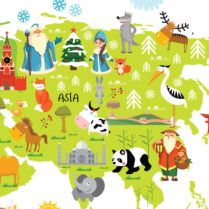 Ded Moroz and Snegurochka from Russia, Dun Che Lao Ren from China, world map for kids, christmas around the world, santas around the world by Pictureta