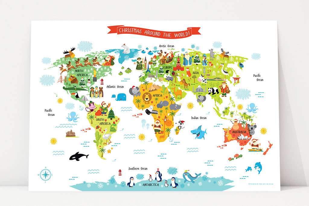 Christmas Around the World - Santas Around the World - Printable World Map for Kids by Pictureta.com