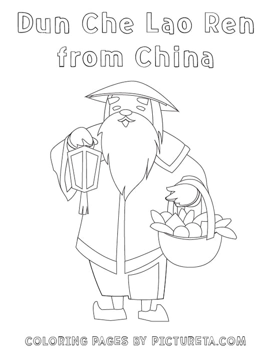 Christmas Coloring Pages - Dun Che Lao Ren from China - Santas Around The World by Pictureta