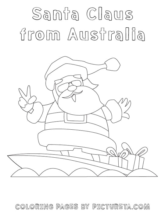 Christmas Coloring Pages - Santa Claus from Australia - Santas Around The World by Pictureta