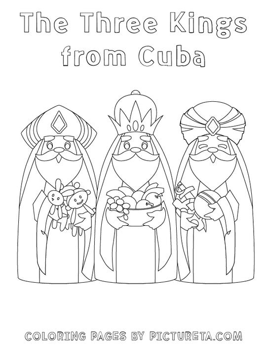 Christmas Coloring Pages - The Three Kings from Cuba - Santas Around The World by Pictureta