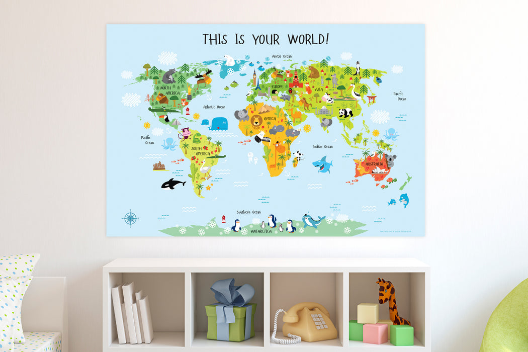 toddler map of the world, world map for kids printable, children's world map, world map for playroom