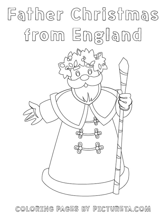 Christmas Coloring Pages - Father Christmas from England - Santas Around The World by Pictureta