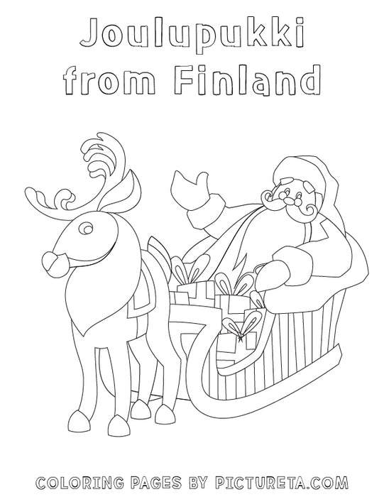Christmas Coloring Pages - Joulupukki from Finland - Santas Around The World by Pictureta