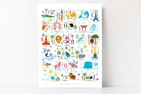 Animal Alphabet Poster for Kids - Playroom and Nursery Decor