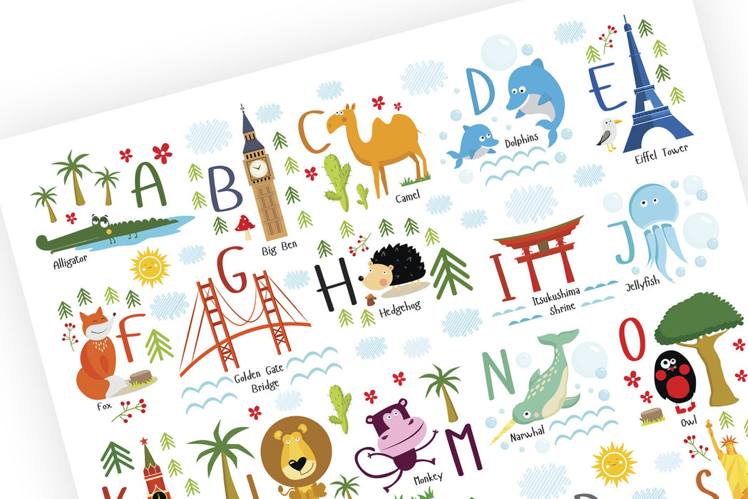 Alphabet, nursery décor, alphabet letters, abc alphabet, playroom décor, kids bedroom décor, alphabet poster, kids playroom, abc poster, abcd alphabet, english alphabet, animal alphabet, animal letters, animal nursery, elephant nursery, travel nursery, modern nursery