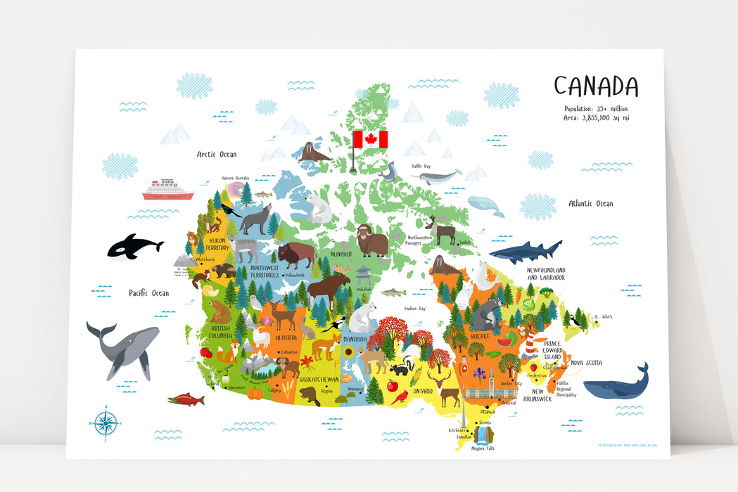 preschool printables, map of canada, printables for kids, printable wall art,