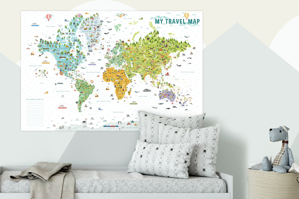 playroom wall decor, playroom for kids, playroom, world map with countries for kids, world map for kids, maps for kids,