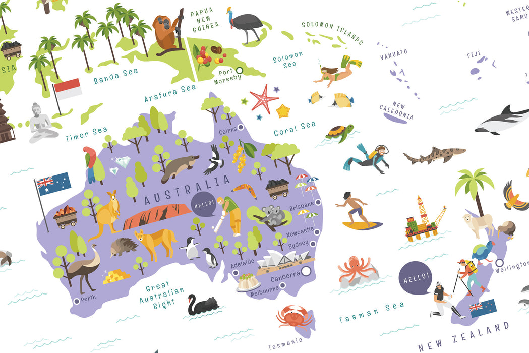 Melbourne Australia World Map.World Map For Kids Travel Map For Kids Instant Digital Download