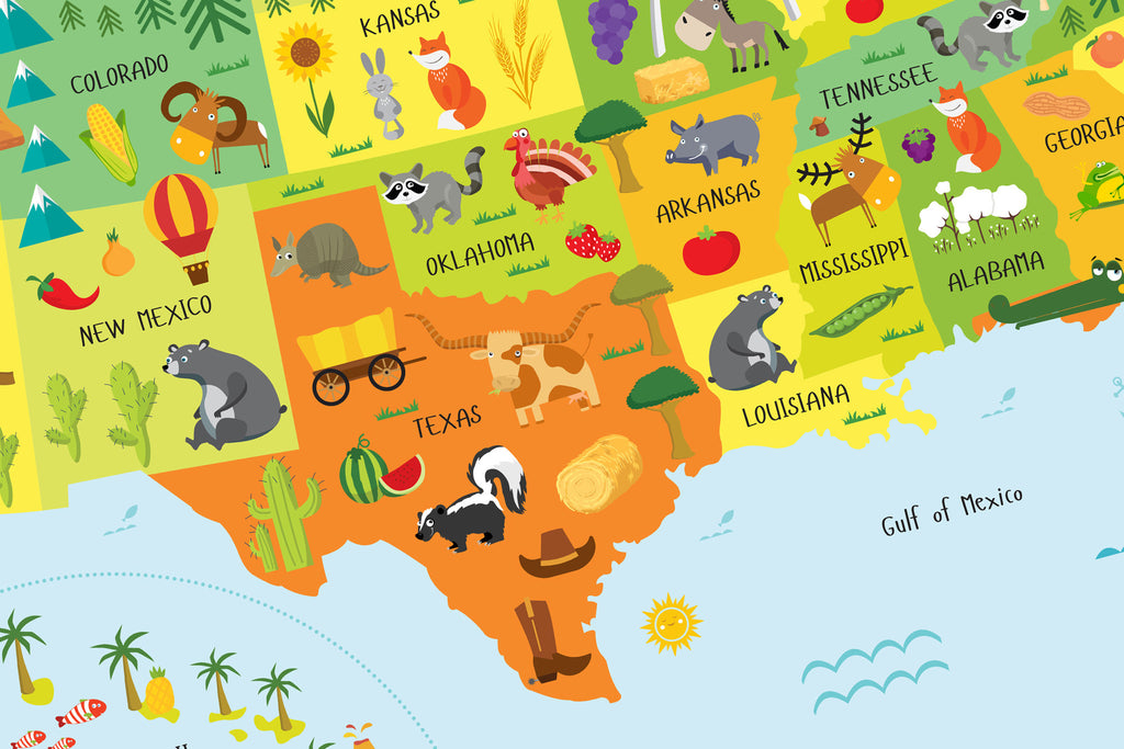 Printable Usa Map For Kids Instant Download Pictureta: Usa Map And Landmarks At Usa Maps