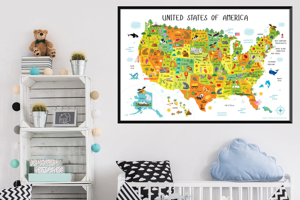 Kids Usa Map.United States Map For Kids Instant Download Pictureta