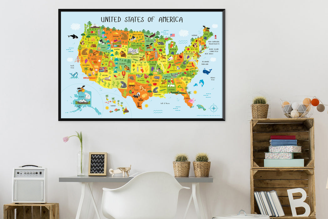 preschool printables, school printables, printables for kids, daycare printables, map of usa, united states of america,  map of united states, printable wall art, geography for kids,