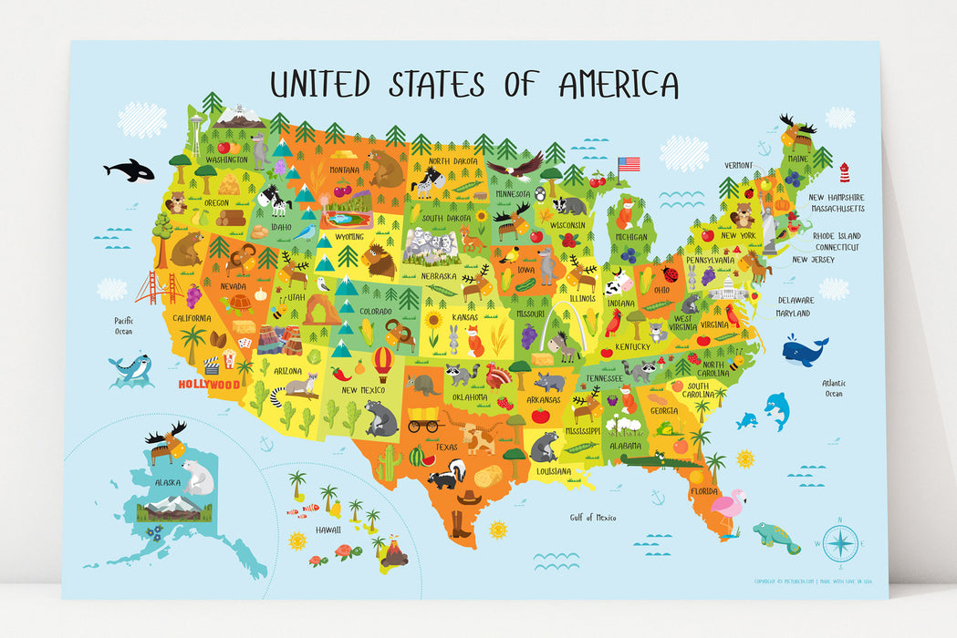 Printable Map Of Usa For Kids.United States Map For Kids Instant Download Pictureta
