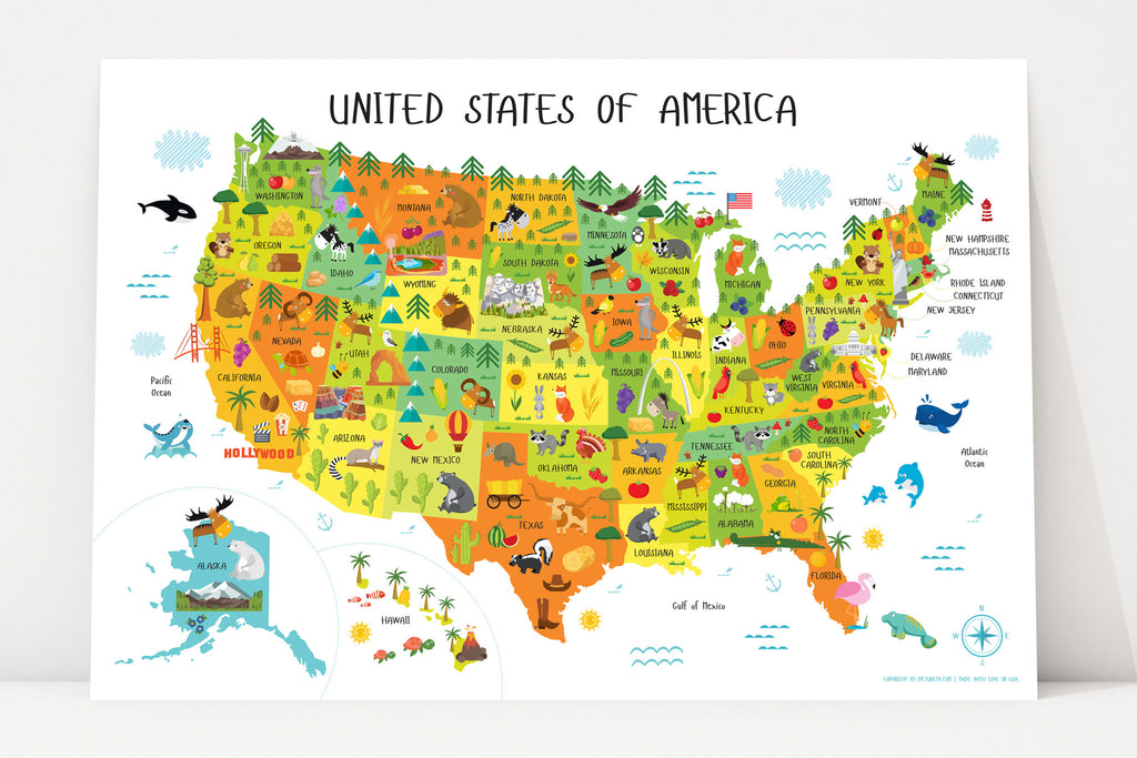 A Map Of The United States Of America.United States Map For Kids Instant Download Pictureta