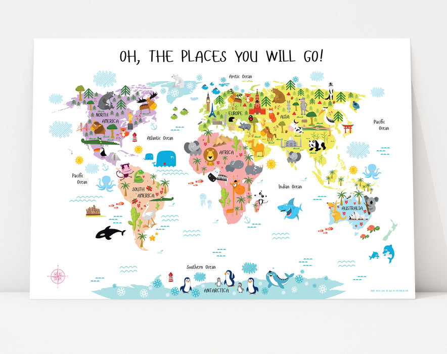 World map for kids, Printable World map for Kids, Kids World Map