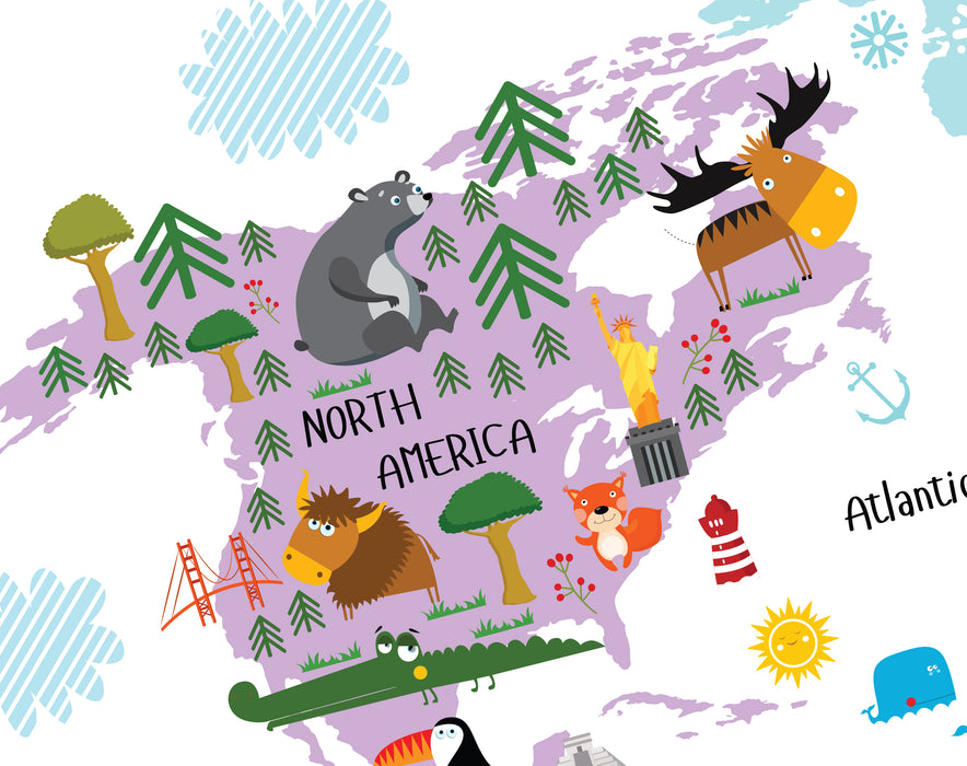 north america for kids, usa for kids, printable world map for kids