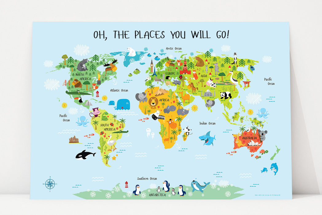printable world map for kids, map for kids, world map decor