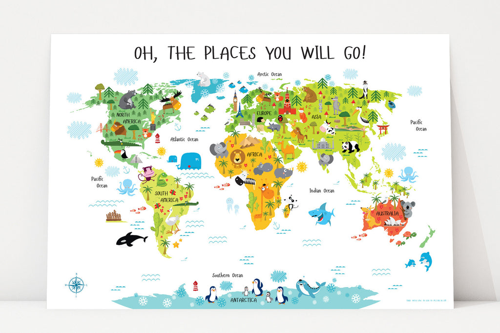 preschool printables, daycare printables, kids world map, oh the places you'll go, animal world map, world map, printable pictures,