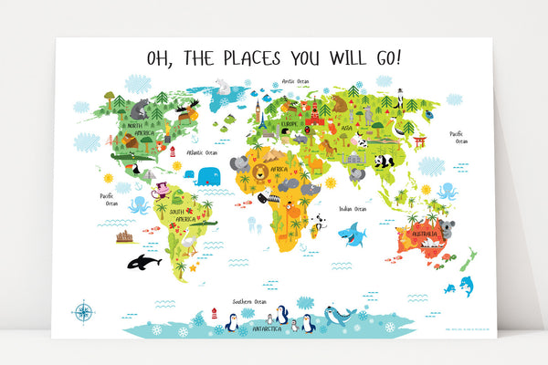 Printable World Map for Kids | Instant Download
