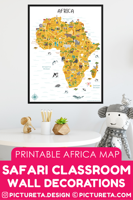 Safari Classroom Wall Decorations, Africa Map printable map will make a perfect kids décor in playroom or classroom. Inspire your child to learn facts about Africa. Africa geography is fun with Pictureta's Map of Africa. Learn about African countries, African landmarks, African animals, African cuisine and African natural resources. DOWNLOAD AND PRINT AT PICTURETA.COM | Geography for Kids, Africa Poster for Kids, Africa poster, Africa Safari, Africa Art, Africa Travel, African Décor, African Print, Africa M
