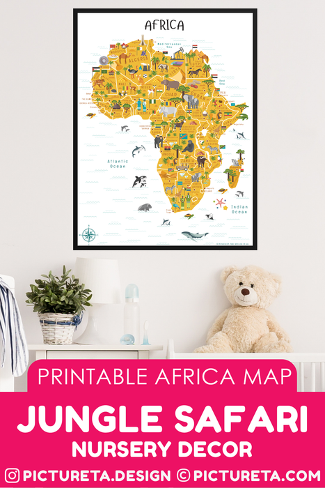 Jungle Safari, Africa Map printable map will make a perfect kids décor in playroom or classroom. Inspire your child to learn facts about Africa. Africa geography is fun with Pictureta's Map of Africa. Learn about African countries, African landmarks, African animals, African cuisine and African natural resources. DOWNLOAD AND PRINT AT PICTURETA.COM | Geography for Kids, Africa Poster for Kids, Africa poster, Africa Safari, Africa Art, Africa Travel, African Décor, African Print, Africa Map Printable, Africa