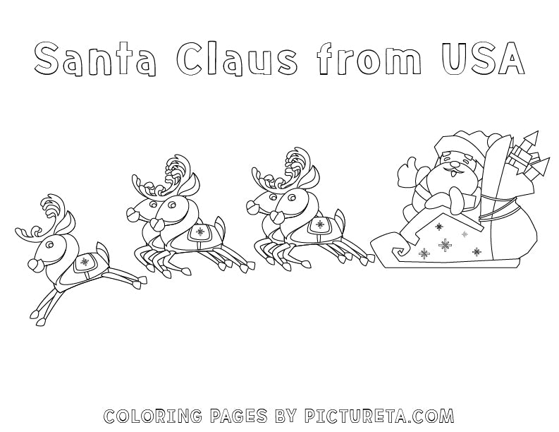 Christmas Coloring Pages - Santa Claus from USA - Santas Around The World by Pictureta