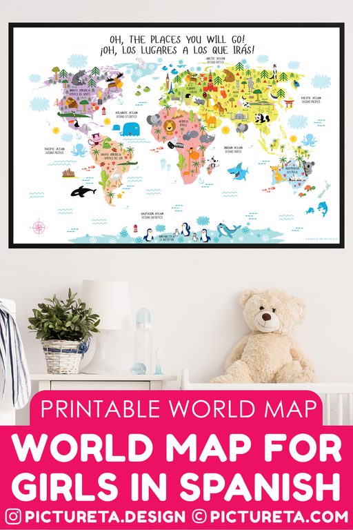 World map for kids, Spanish Language for Kids, spanish language printables, bilingual kids, spanish world map printable wall art, INSTANT DOWNLOAD, Get at Pictureta.com | Toddler Room Decor, spanish language learning kids,