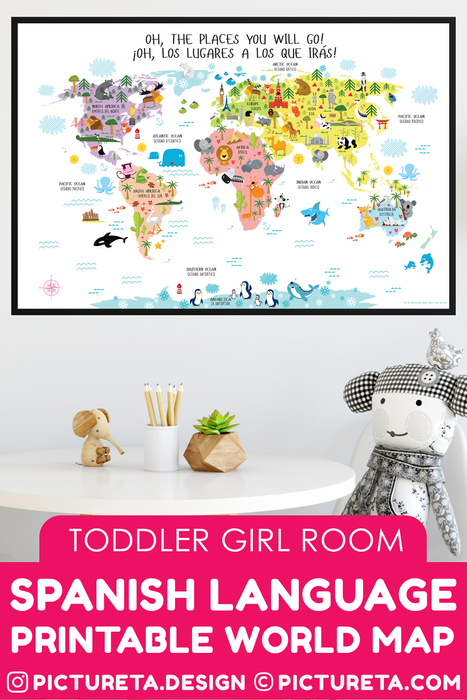 World map for kids in Spanish and English. Spanish classroom, Spanish classroom decor - Instant Download Printable Wall Art - Get Yours at Pictureta.com | Spanish Language for Kids, spanish language printables,