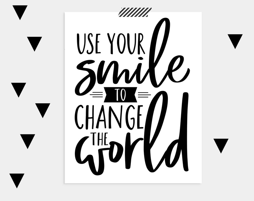 inspirational quotes for kids, nursery decor, printable wall art, kids room decor, use your smile to change the world