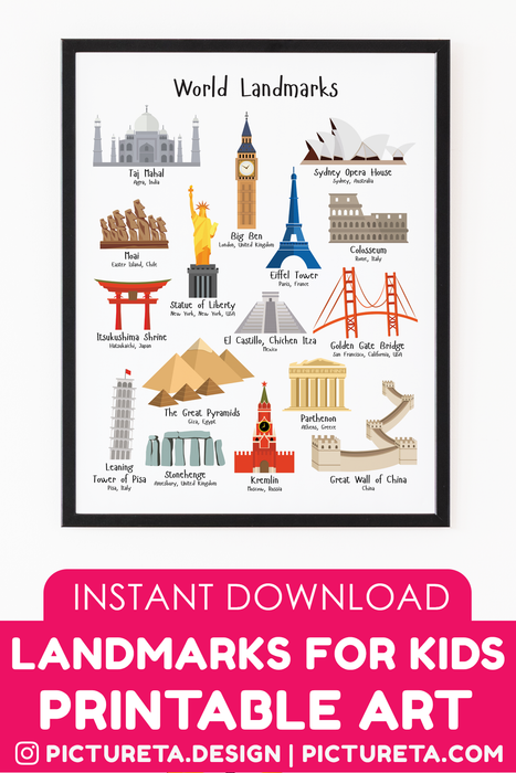 This modern landmarks for kids printable wall art will make a perfect wall décor in kids room or playroom. Inspire your child to travel the world and learn about famous wonders of the world. Printable illustrates Eiffel Tower, Big Ben, Statue of Liberty, Golden Gate Bridge, Taj Mahal, Sydney Opera House, Kremlin, The Great Pyramids, Stonehenge, and more. DOWNLOAD AND PRINT AT PICTURETA.COM | Landmarks, printable art, nursery wall art, travel poster, digital print