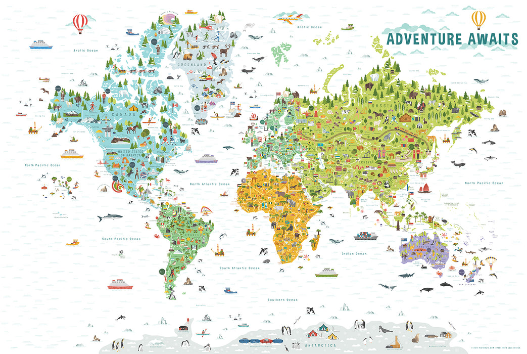 World Map with Countries | Kids World Map
