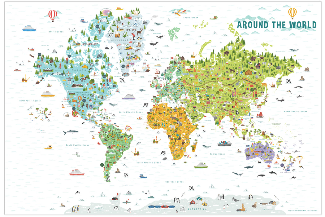 World Map with Countries | Kids Room Decor | Playroom Decor ...