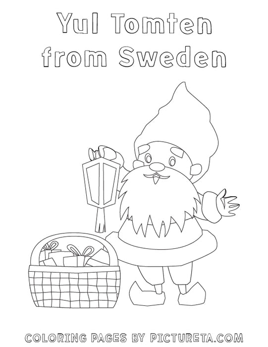 Christmas Coloring Pages - Yul Tomten from Sweden - Santas Around The World by Pictureta