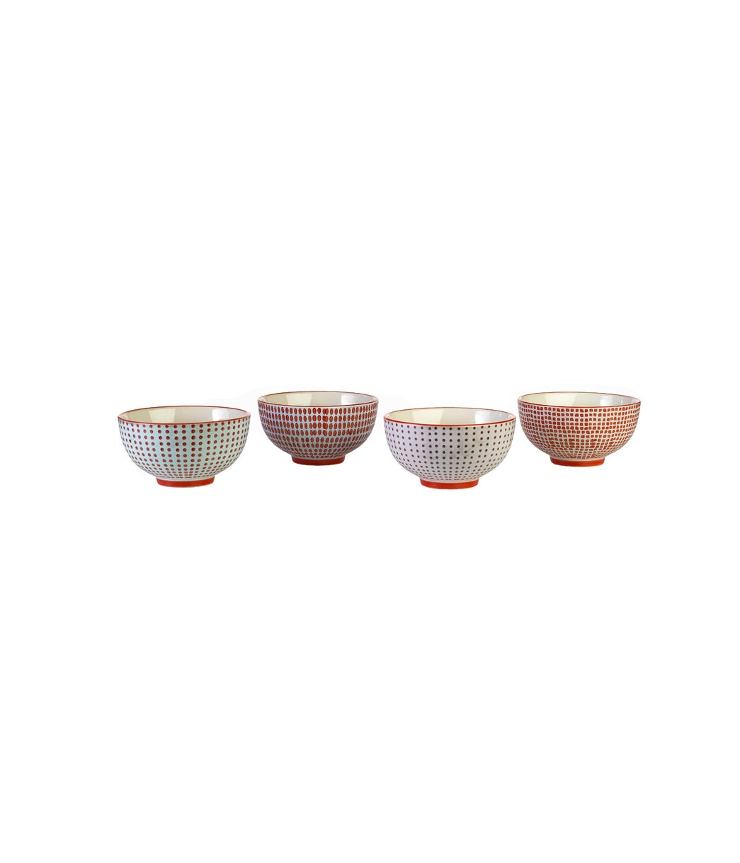 Bowls red dottiest set of 4