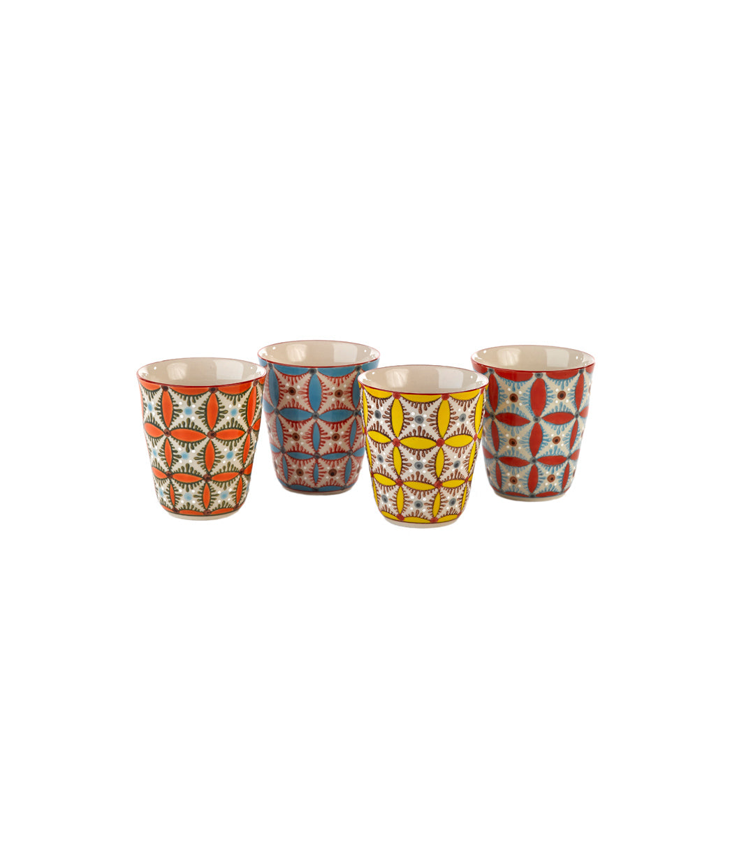 Cups colour hippy Set of 4