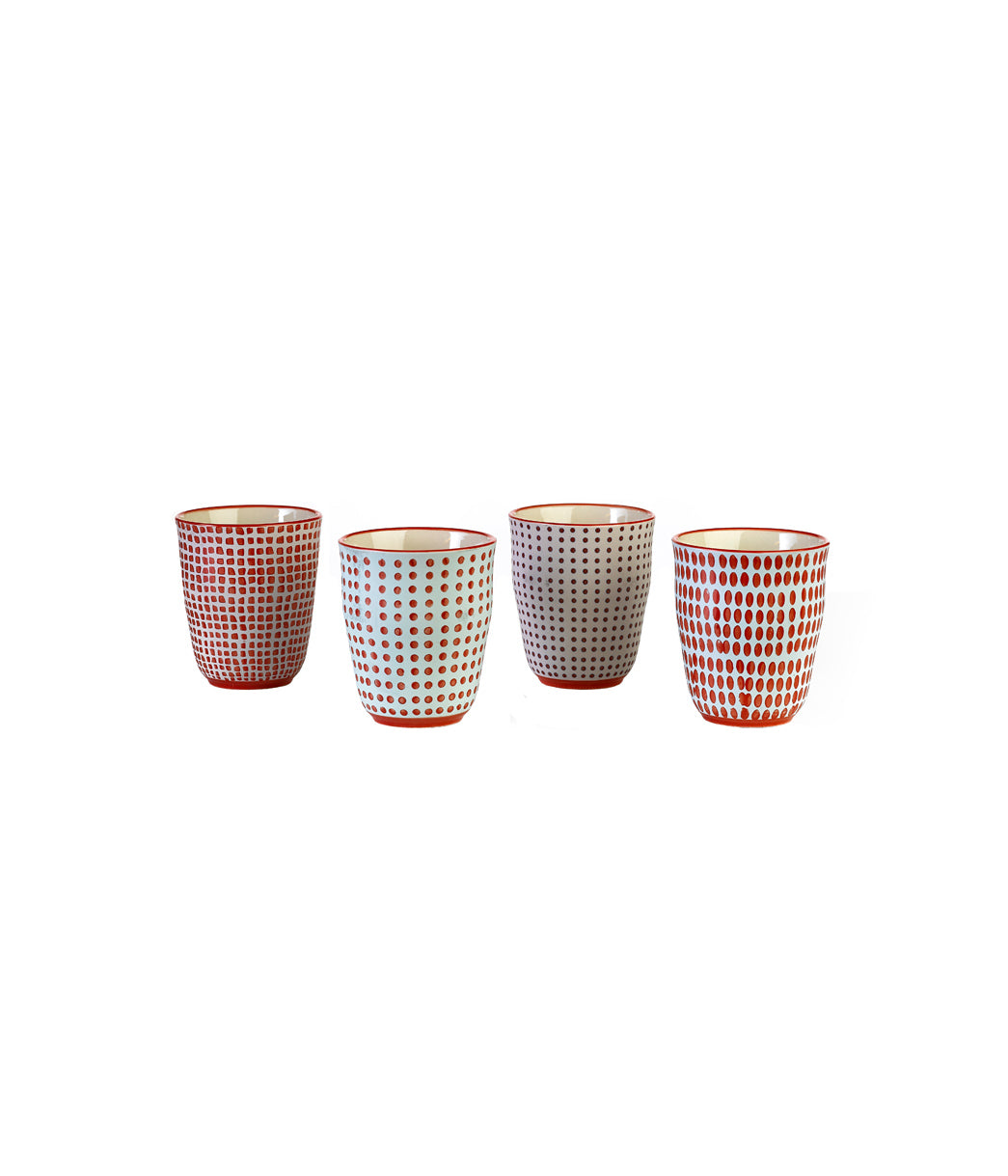 Cups red dotties set4