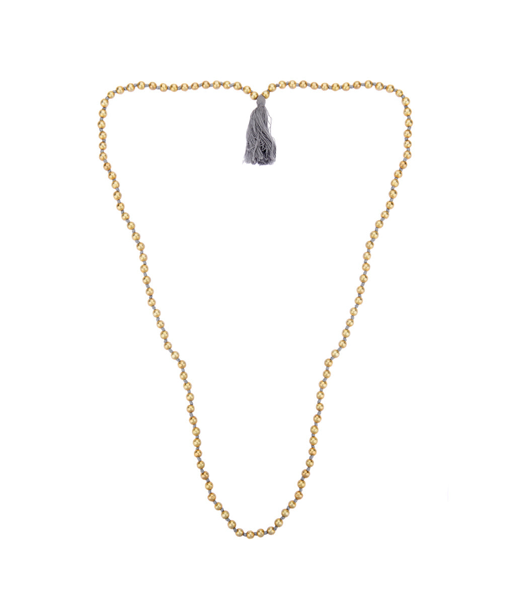 Ethereal Gold Necklace with Grey thread