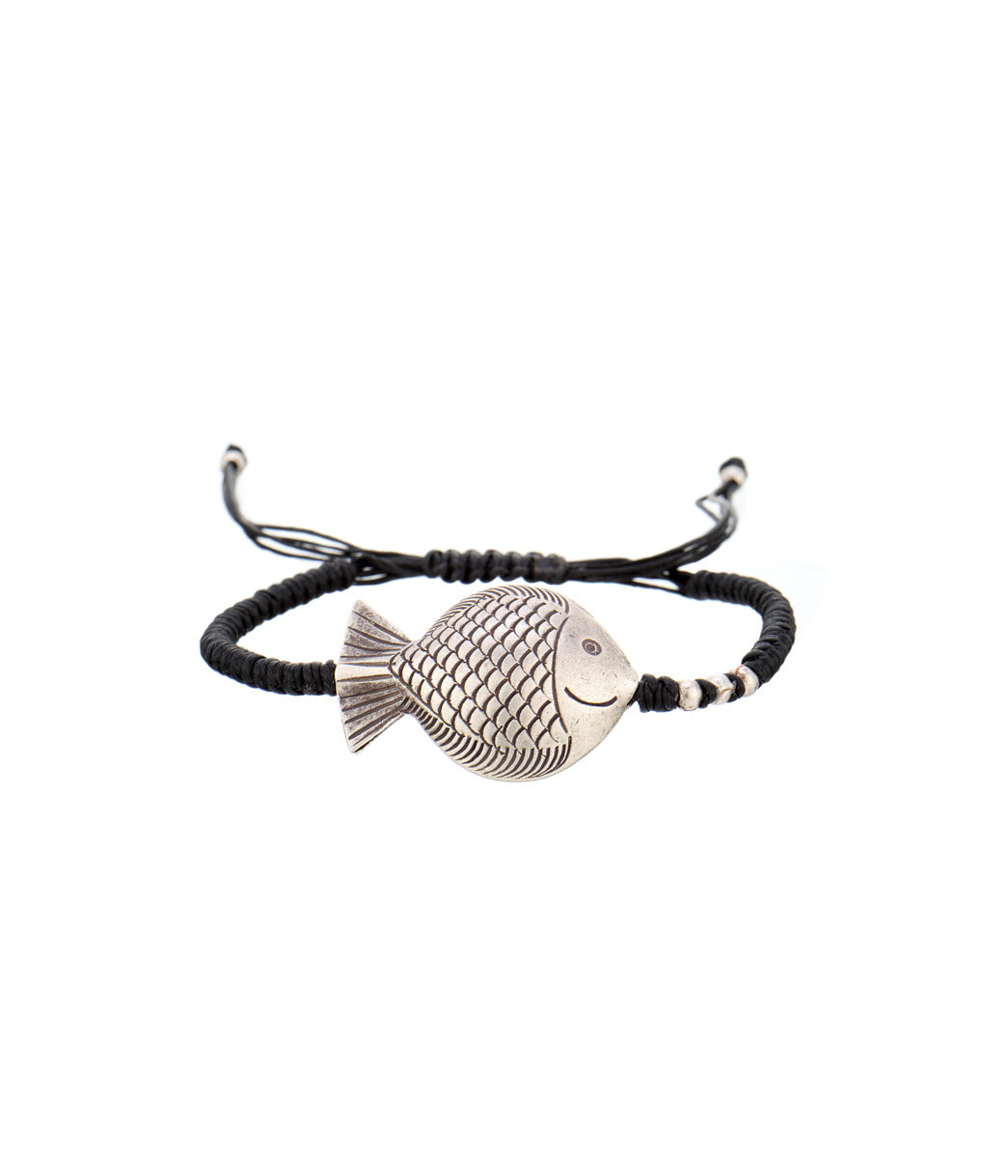 Fish Black Thread Bracelet Large