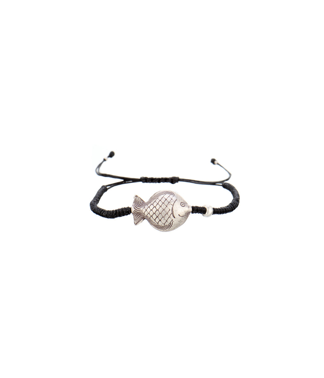 Fish Black Thread Bracelet Small