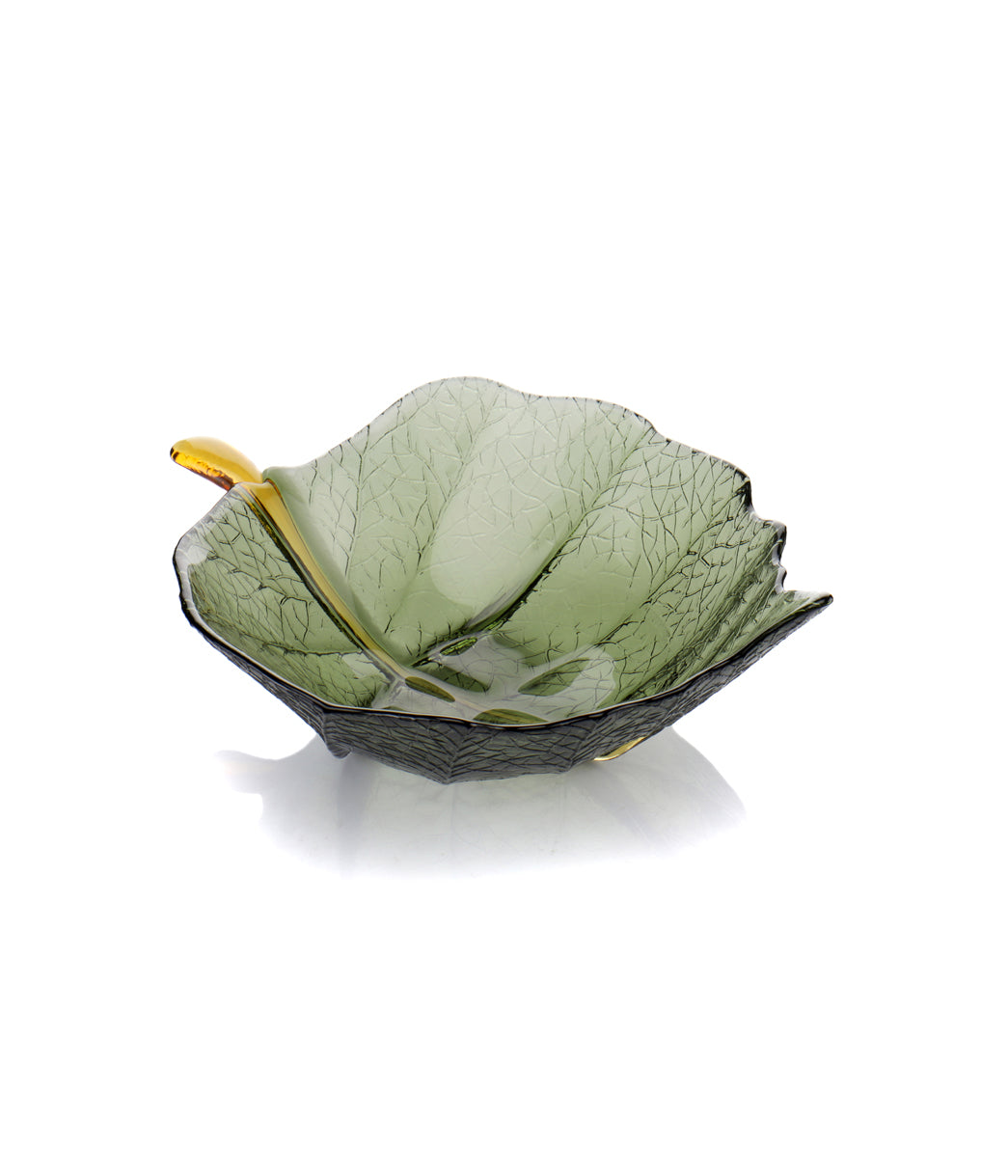 Glass Leaf Bowl Large