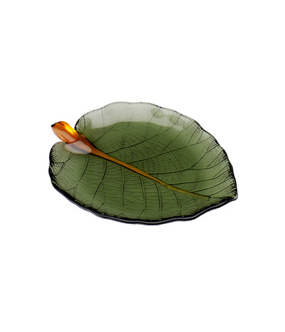 Glass Leaf Plate Small