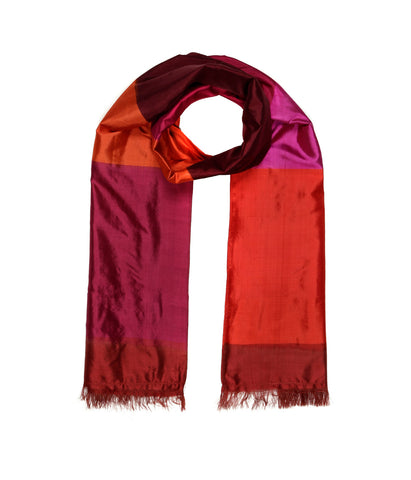 Handwoven Color-Blocked Single Ikat Scarf