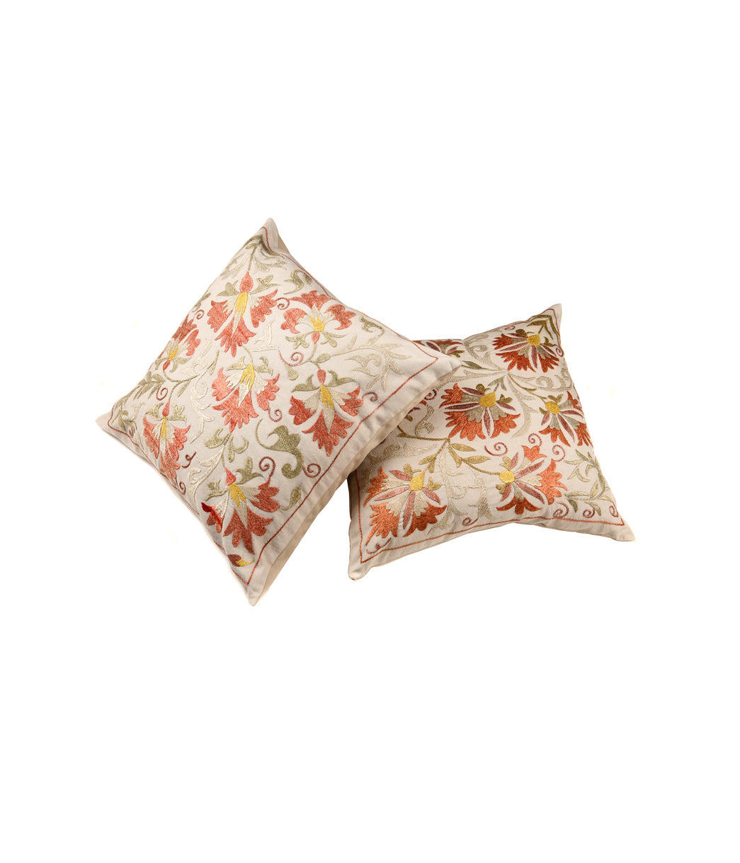 Moonriver orange flower embroided cushion