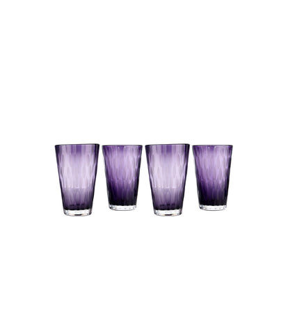 Purple tall water glass Set of 4