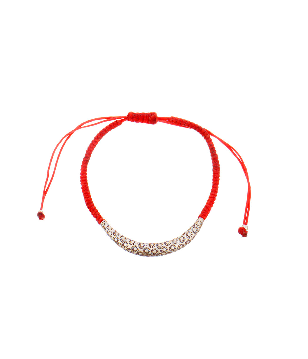 Silver Red Thread Bracelet