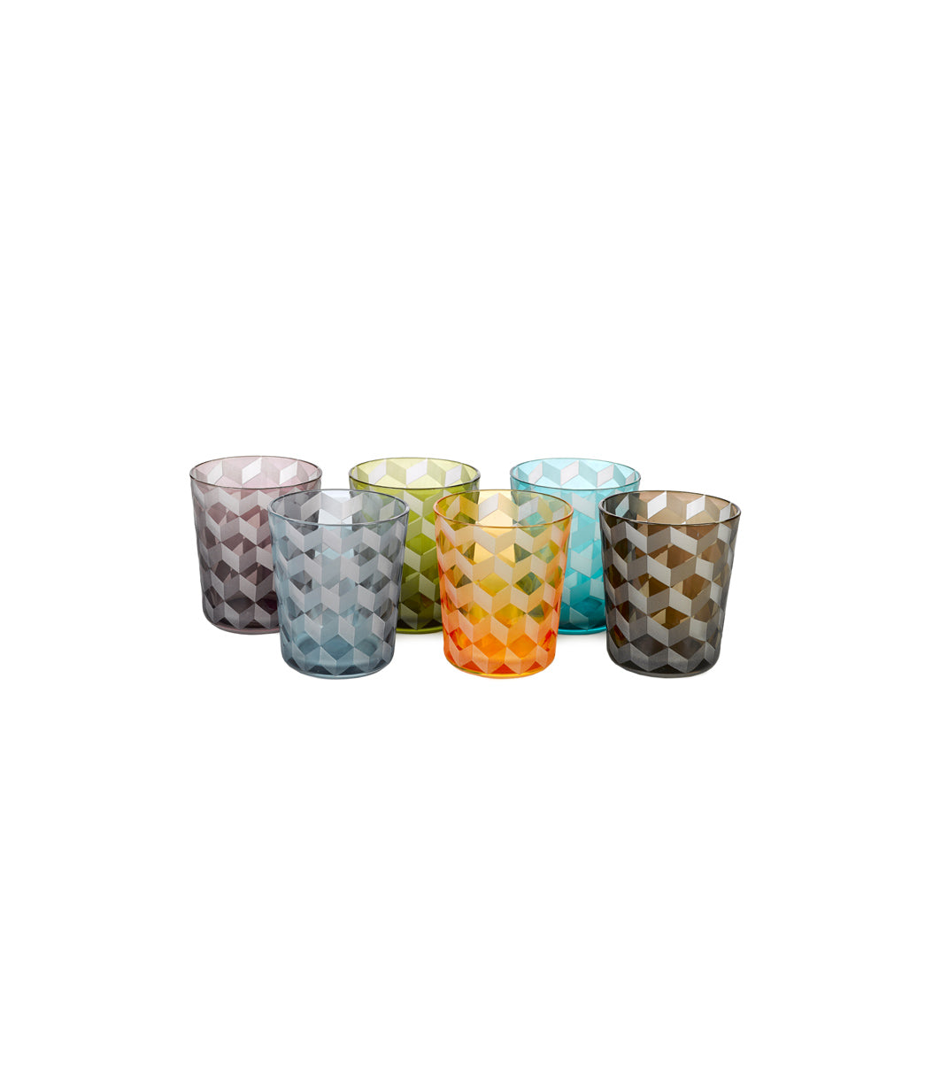 Tumbler Blocks Multi-colour Set of 6